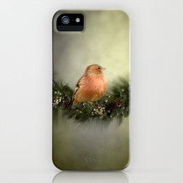 Little Bird in Christmas Wreath iPhone Case