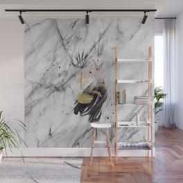 Abstract botanical blush marble Wall Mural