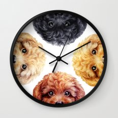 Toy poodle friends mix, original painting print by miart Wall Clock