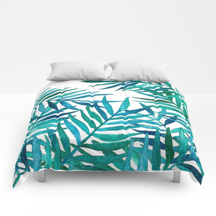 Watercolor Palm Leaves on White Comforters