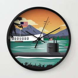 Pearl Harbor, HI - Retro Submarine Travel Poster Wall Clock