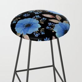 Blue flowers with black Bar Stool