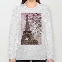 Eiffel Tower Paris in pink Long Sleeve T-shirt