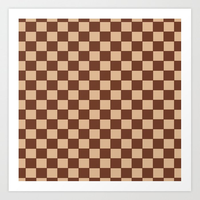 Checkers - Brown and Beige Art Print