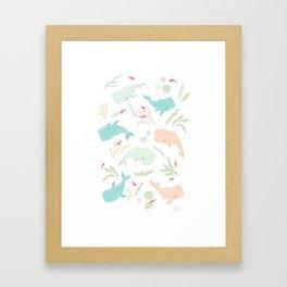 Pastel Whale Pattern Framed Art Print
