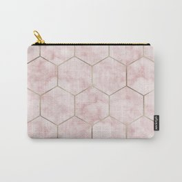 Cloudy pink marble hexagons Carry-All Pouch