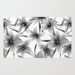 Lily. Black and white pattern . Rug