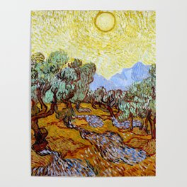 "Vincent Van Gogh ""Olive Trees With Yellow Sky And Sun"" Poster"