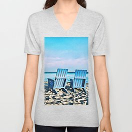 Join Me On The Beach, Won't You? Unisex V-Neck