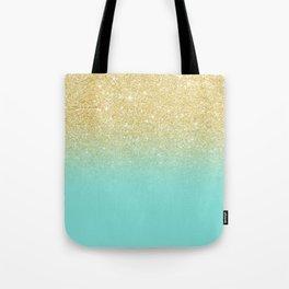 Modern chic gold glitter ombre robbin egg blue color block Tote Bag