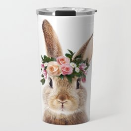 Baby Rabbit, Brown Bunny With Flower Crown, Baby Animals Art Print By Synplus Travel Mug