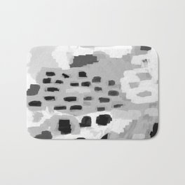 Turan - Black and white grey abstract painting modern home decor minimalist neutral trendy dorm Bath Mat