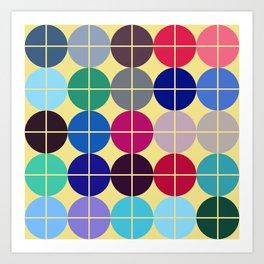 Multicolor Dots on Grid Art Print