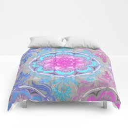Pink, Purple and Turquoise Super Boho Doodle Medallions Comforters