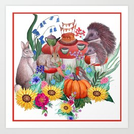 Woodland animal fall nursery art, watercolor rabbit, hedgehog and robin Art Print