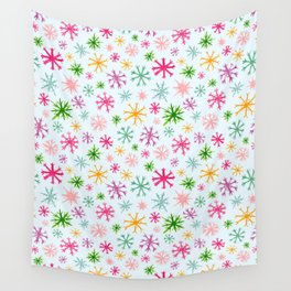 Brightly Colored Snowflakes Wall Tapestry