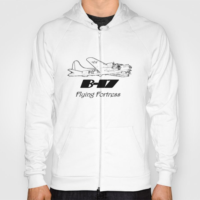 B-17 line drawing Hoody
