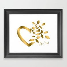 Gold Valentine Heart and Rose Framed Art Print