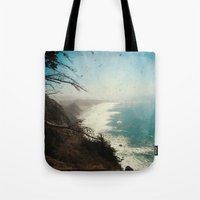 big sur Tote Bags featuring Big Sur - Jagged Edge by Jenndalyn