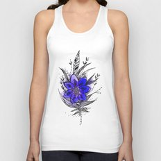 Blue Flower Feather Unisex Tank Top