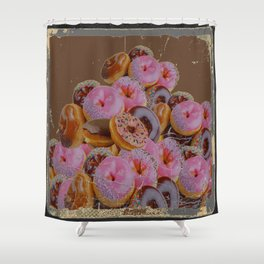SHABBY CHIC ANTIQUE PHOTO PINK DONUTS Shower Curtain