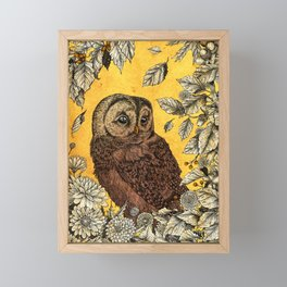 Tawny Owl Yellow Framed Mini Art Print