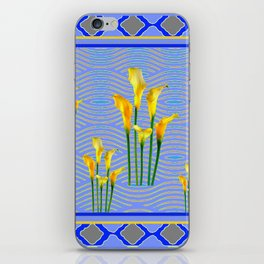 Shades of Blue Yellow Calla Lily Art iPhone Skin