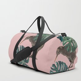Kiwi Bird with Monstera in Pink Duffle Bag