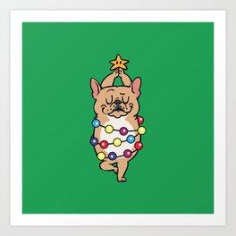 French Bulldog Merry Christmas Art Print