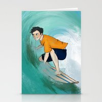 percy jackson Stationery Cards featuring Percy Surfing by limevines