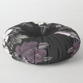Blackberry Spring Garden Night - Birds and Bees on Black Floor Pillow