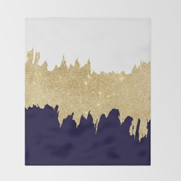 Modern navy blue white faux gold glitter brushstrokes Throw Blanket