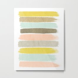 Madison - Brushstroke art print in modern colors bright and happy gifts for trendy girls Metal Print