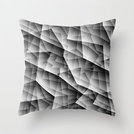 Monochrome pattern of chaotic black and white glass fragments, irregular cubic figures and ice floes Throw Pillow