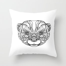 Oriental Small-clawed Otter Doodle Art Throw Pillow