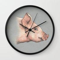 pig Wall Clocks featuring Pig by Marta Bocos