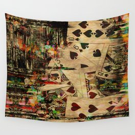 Abstract Vintage Playing cards  Digital Art Wall Tapestry