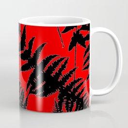 Chinese Red Oriental Style Black Ferns Coffee Mug