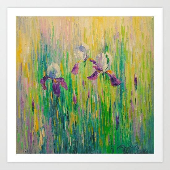 Morning with irises Art Print