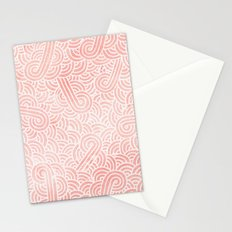 Rose quartz and white swirls doodles Stationery Cards