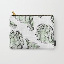 Artichoke backdrop. Seamless pattern artichoke sketch. Hand-drawn artichokes without background. Carry-All Pouch