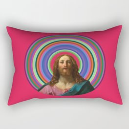 Rainbow Jesus Rectangular Pillow