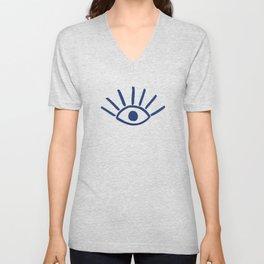 Navy Evil Eye Pattern Unisex V-Neck