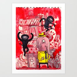 Mr. Elephant & Ninjas Art Print