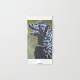 A Curly-Coated Retriever dog portrait from an original painting by L.A.Shepard Hand & Bath Towel