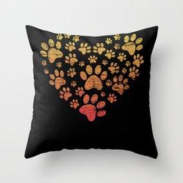 Dog paw heart Throw Pillow