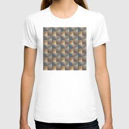Industrial Urban Geometric Pattern in Burnished Gold & Steel Blue T-shirt
