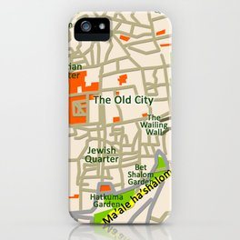 Jerusalem map design iPhone Case