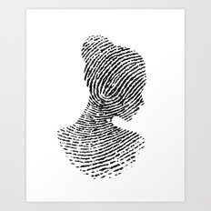 Fingerprint Silhouette Portrait No.1 Art Print