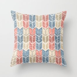 Geometric Shabby Farmhouse Chevron Arrows Pattern in Muted Coral Blue Beige Throw Pillow